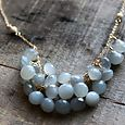 monet necklace . grey moonstone + gold stardust